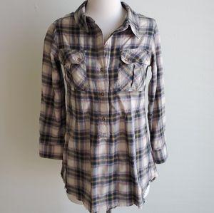 NSF Plaid Half Button Shirt
